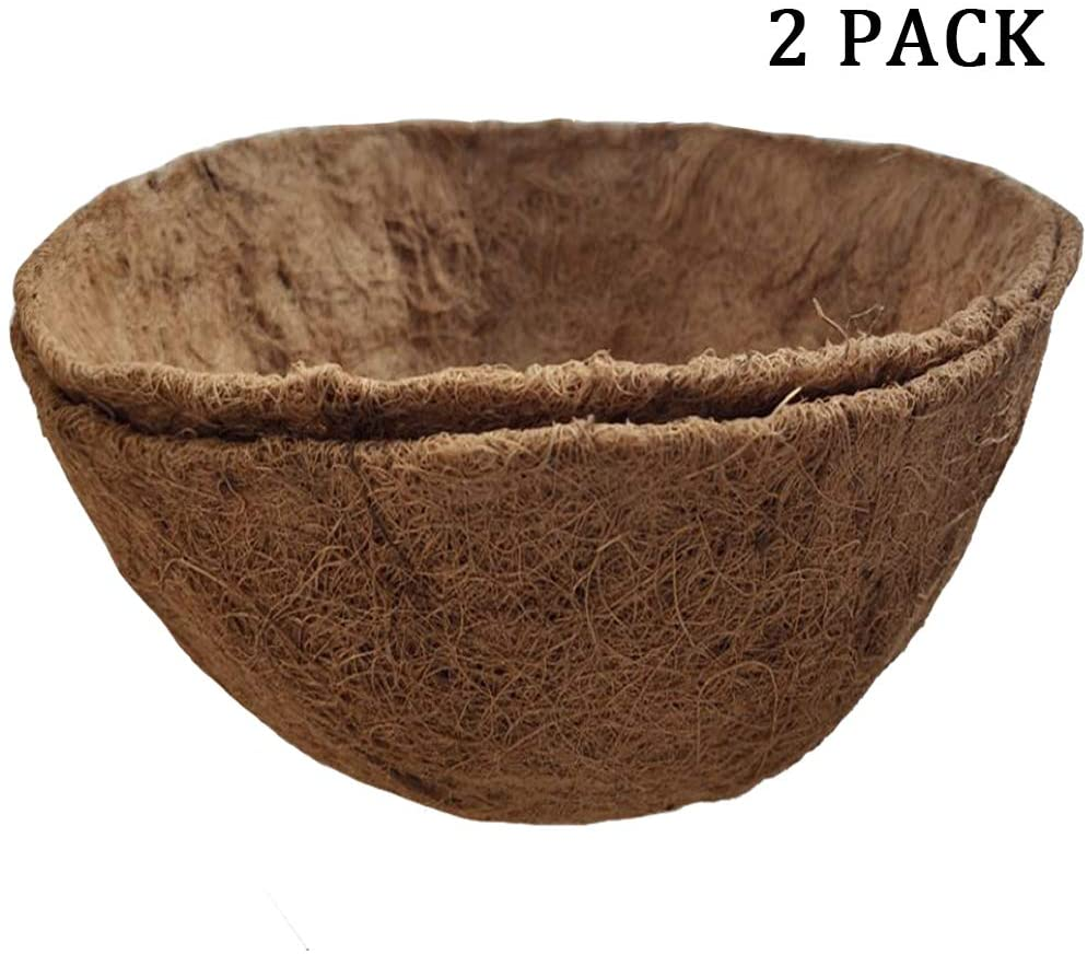 FDGARDEN 2PCS Round Replacement Coco Liner for Hanging Basket, 12 inch Coconut Fiber Plant Basket Liner for Garden Planter Flower Pot (12 inch Round)