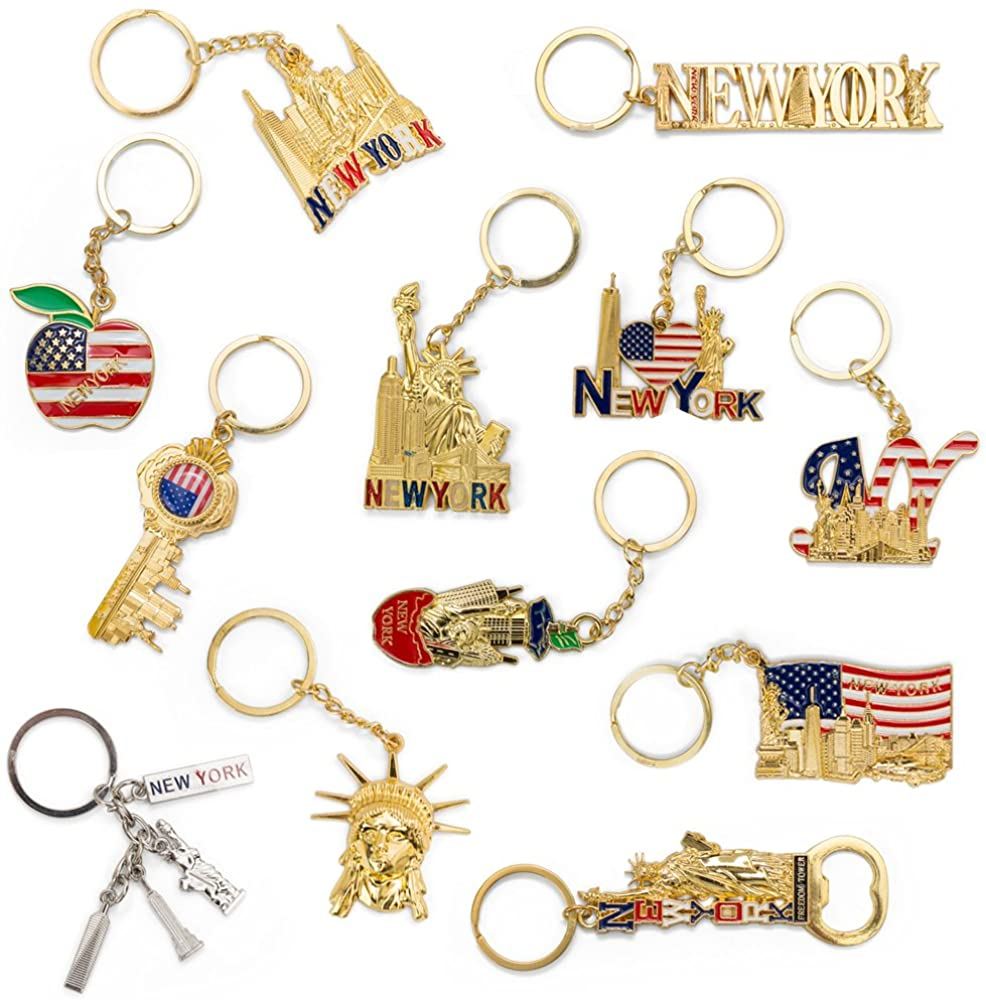 I Love NY Keychain NYC USA souvenirs Gift Bottle Opener Key Chain - 12 Pack