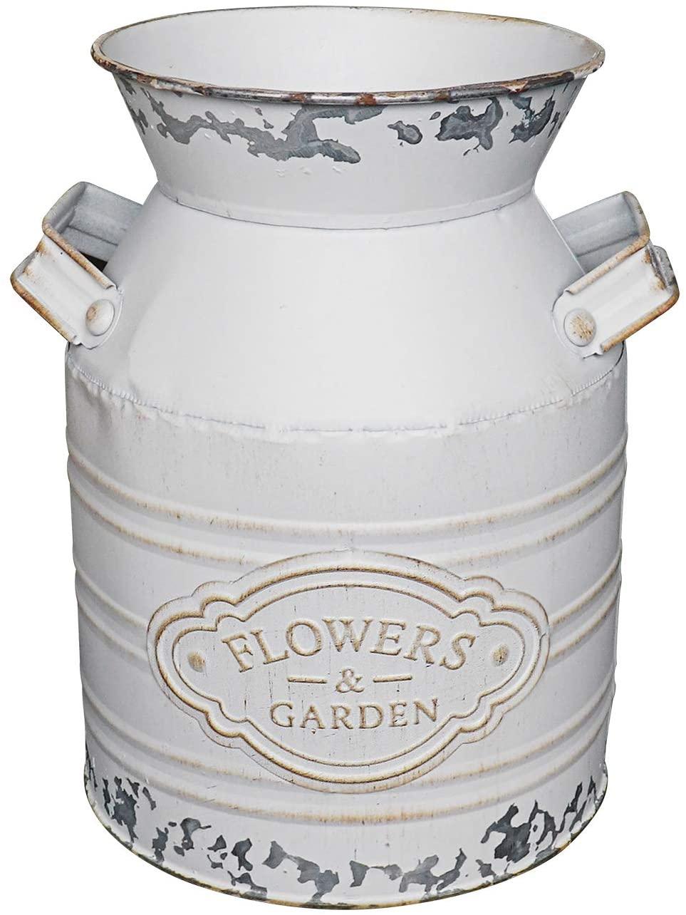 Soyizom Rustic Galvanized Vase Tin Milk Can Vintage White Jug Metal Shabby Chic Bucket Vase Decorative Jug Pot Farmhouse Decor Flower Pitcher for Country Primitive Water Jug Can Decor Vase—Small,7.9
