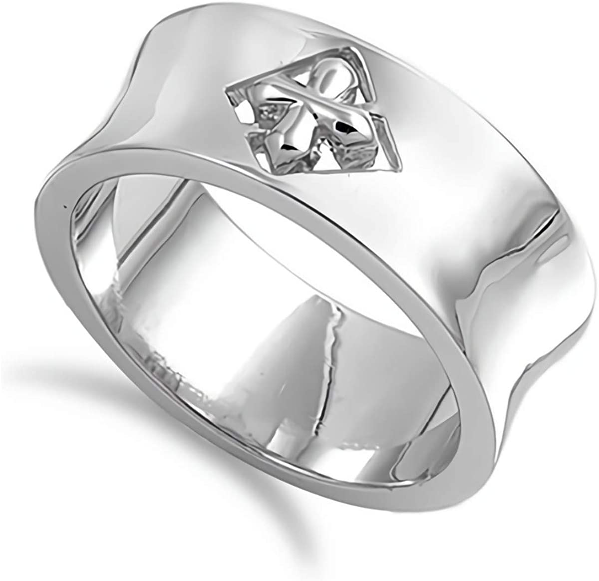 Glitzs Jewels 925 Sterling Silver Ring (Cross)   Cute Jewelry Gift for Women in Gift Box