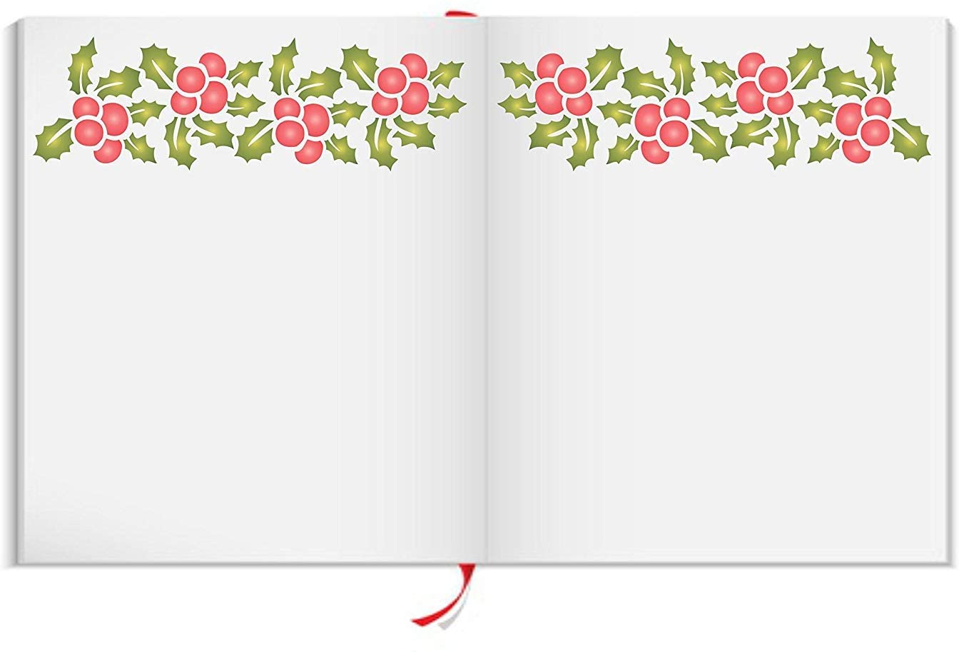 """CHRISTMAS HOLLY BORDER (size 10""""w x 3""""h) Reusable Stencils for Christmas Cards or Decorations - Best Quality Décor Ideas - Use on Walls, Floors, Fabrics, Glass, Wood, and More…"""