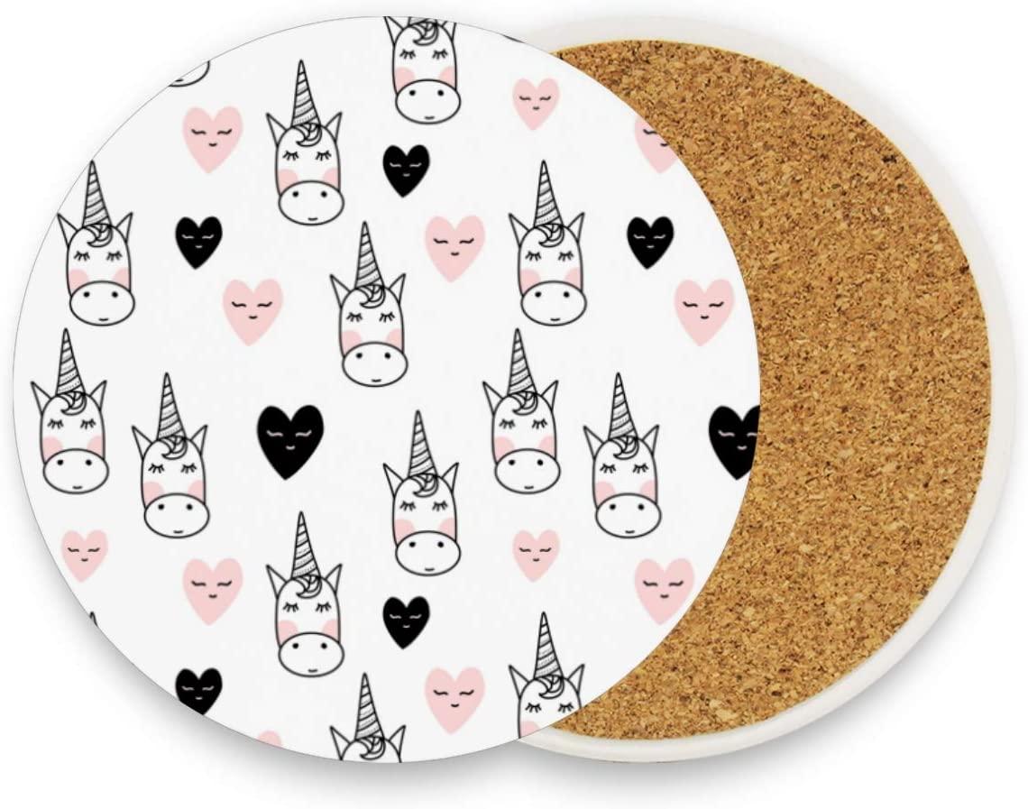 Cute Unicorn Round Coaster Set Table Coasters