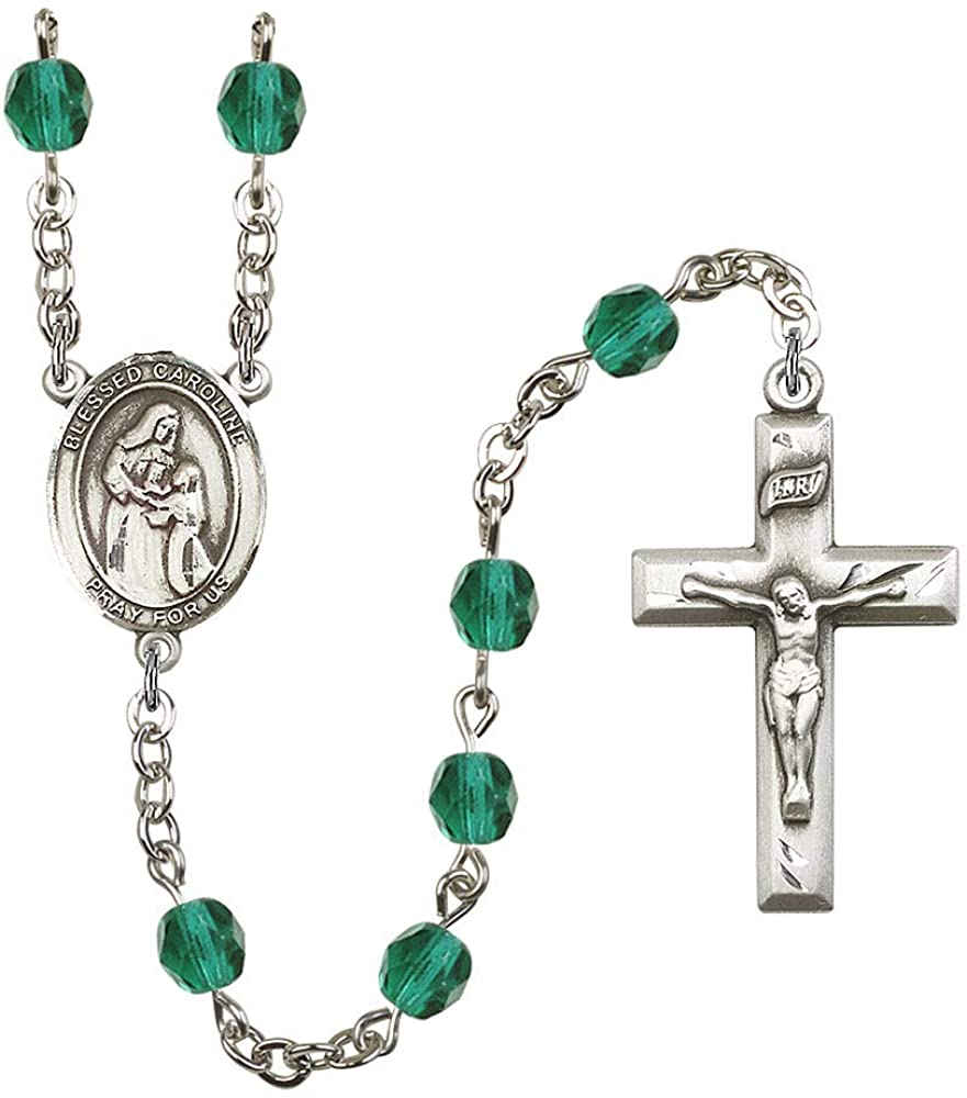 Silver Plate Rosary features 6mm Zircon Fire Polished beads. The Crucifix measures 1 3/8 x 3/4. The centerpiece features a Blessed Caroline Gerhardinger medal. Patron Saint Purity