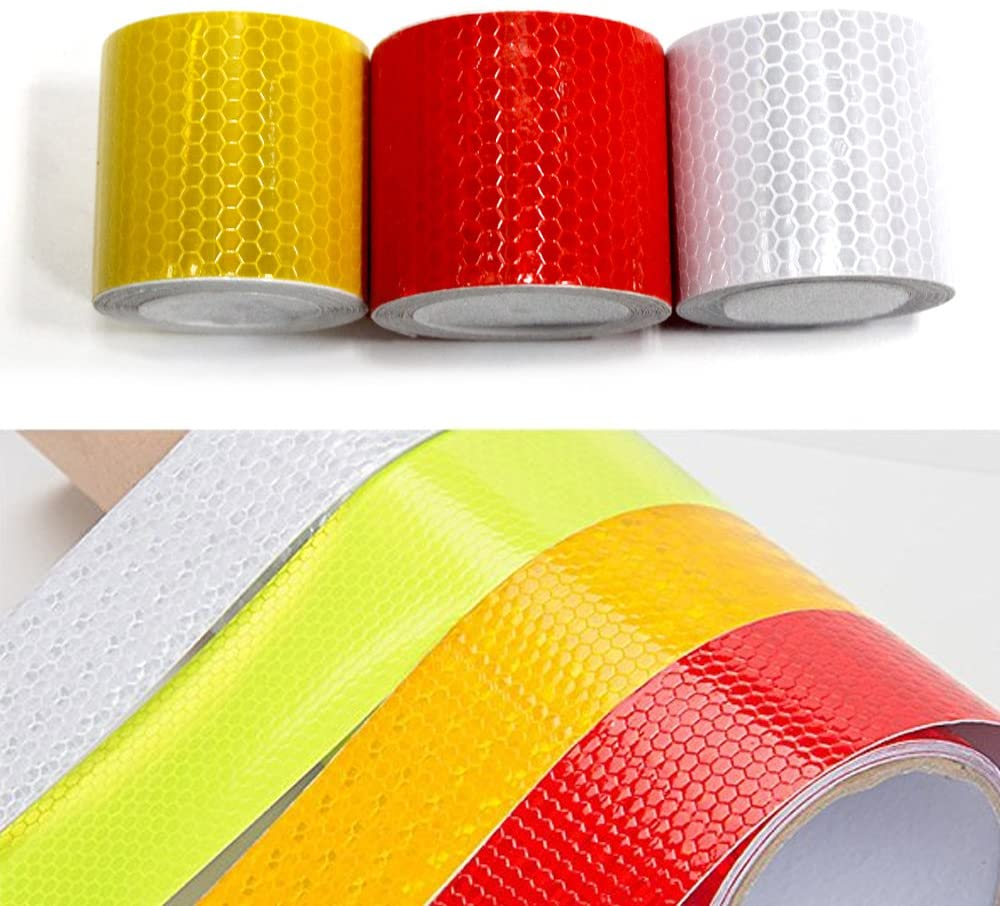 5cmx3m 3Pcs(Gold Red Silver) High Intensity Grade Reflective Tape Pack Safety Warning Decal Stickers Pack Reflective Stickers Pack