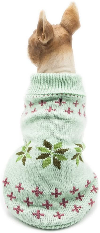 MaruPet Christmas Pet Dog Snowflake Sweater Ribbed Knitwear Turtleneck Halloween Coat Apparel for Teddy, Pug, Chihuahua, Shih Tzu, Yorkshire Terriers, Papillon
