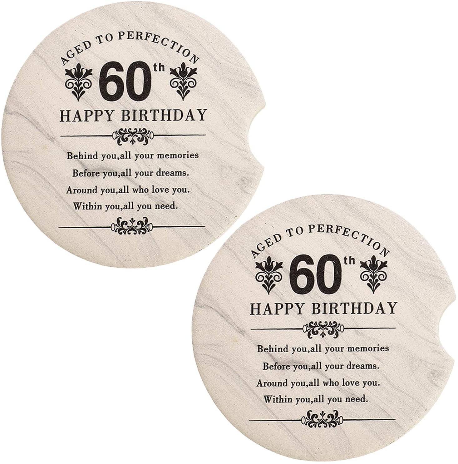 COFOZA 60th Birthday Gifts Set of 2 Ceramic Absorbent Car Coasters for Cup Holder Car Accessory with Gift Box (2.56)