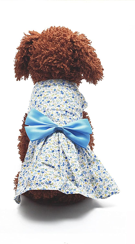 New Spring Summer Pet Lady Dog Dress Floral Skirt Small Dog Princess Bow Dress
