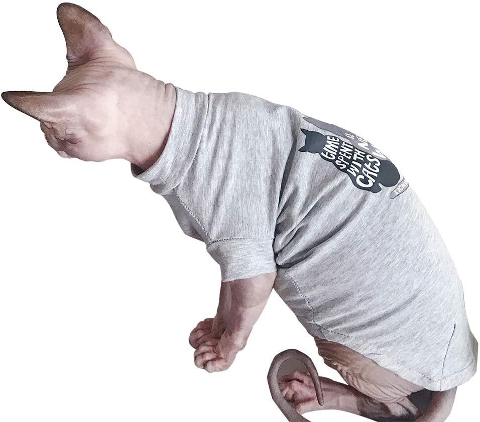 DENTRUN Hairless Cats Shirt Cat Wear Clothes Vest Best Hairless Cat's Adorable Clothes Cat's Pajamas Jumpsuit for All Season, Soft & Skin-Friendly