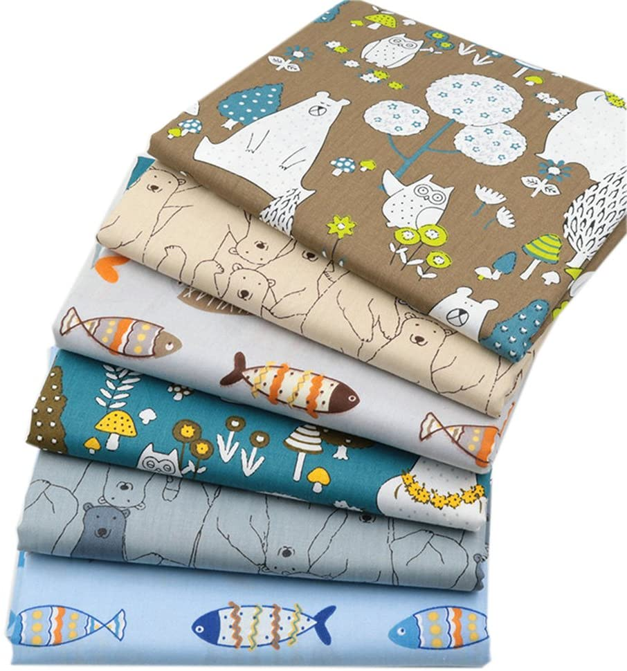 6Pcs Cartoon Prined 18 x 22 Fat Quarters Fabric Bundles for Patchwork Quilting,Pre-Cut Quilt Squares for DIY Sewing Patterns Crafts