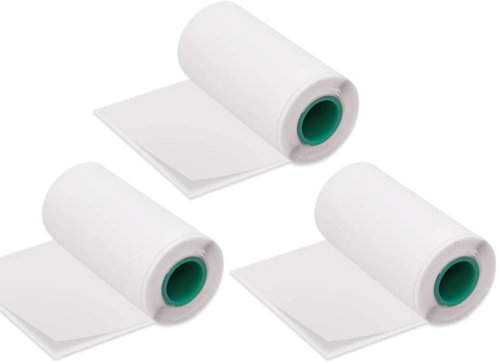 Aibecy Long-Lasting 10-Year Preservation Sticky Thermal Paper Roll 5630mm / 2.21.2in BPA-Free Black Font Adhesive Sticker Labels for Peripage A6/A8/P6 Paperang P1/P2 Thermal Printer, 3 Rolls