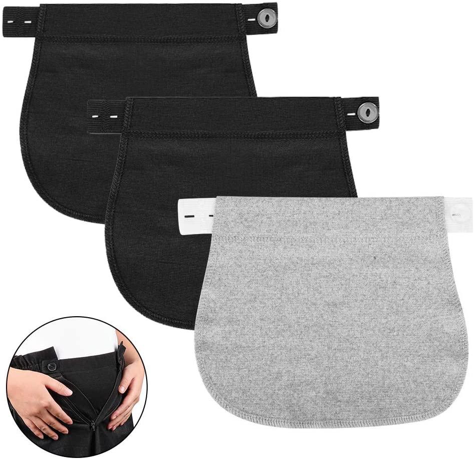 Accmor Maternity Pants Extender, 3 Packs Cotton Pregnancy Pants Extender, Adjustable Pregnancy Waistband Extender Trouser Extender for Pregnancy Women