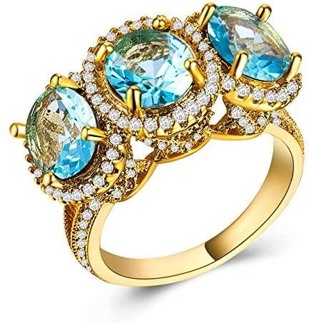 MGZDH Zircon Ring Ring Ladies Zircon Ring Plated 18k Gold Ladies Ring, sea Blue, 8