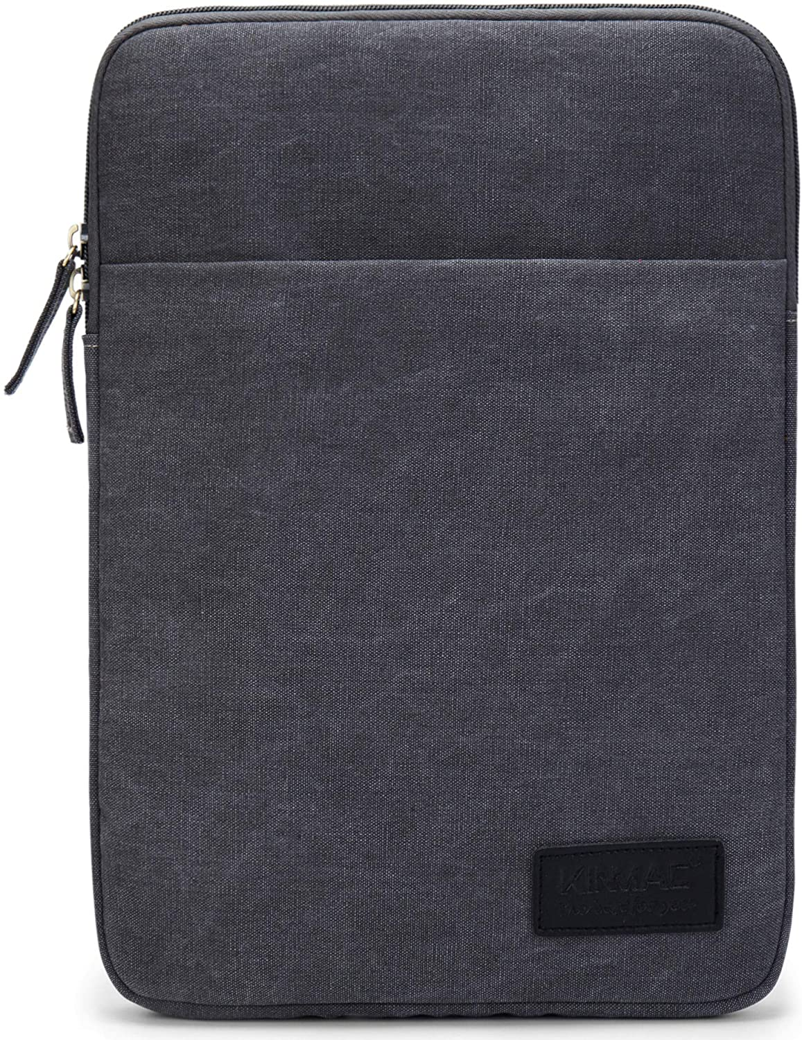 Kinmac Grey Color 360 Degree Protective Canvas Vertical Waterproof Laptop Sleeve with Pocket for MacBook Pro 16 and 14 Inch Laptop