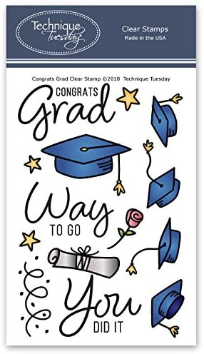 Congrats Grad Clear Stamps   Graduation Stamps for Cards   Clear Rubber Stamps   Photopolymer Stamps   Card Making Supplies   Scrapbooking Stamps