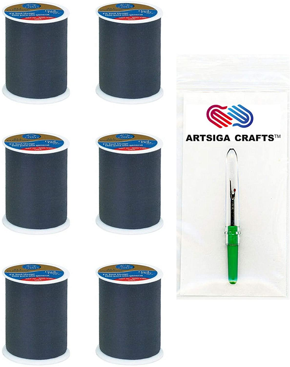 Coats & Clark Sewing Thread Dual Duty All-Purpose Polyester Thread 400 Yards (6-Pack) Black Bundle with 1 Artsiga Crafts Seam Ripper C-230-002-6P