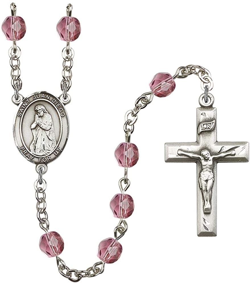 Silver Plate Rosary features 6mm Amethyst Fire Polished beads. The Crucifix measures 1 3/8 x 3/4. The centerpiece features a St. Juan Diego medal. Patron Saint Americas/Natives