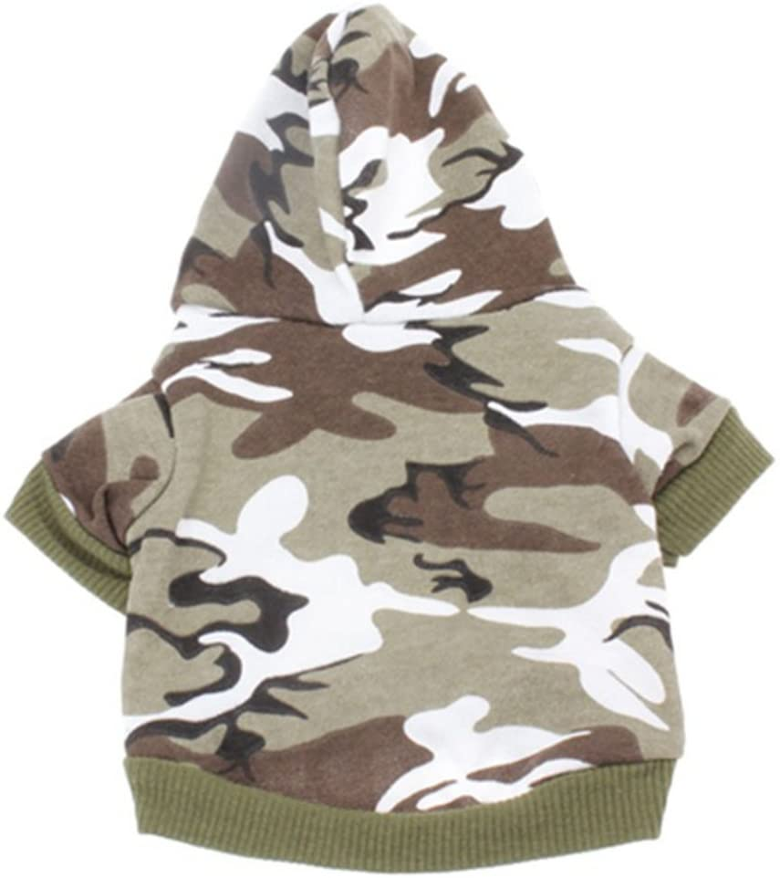 MaruPet Autume Overall Camouflage V-Neck Two-Leg Outdoor Spotrs Hoodies Top with Hat Doggie Outfit for Small Medium Dogs
