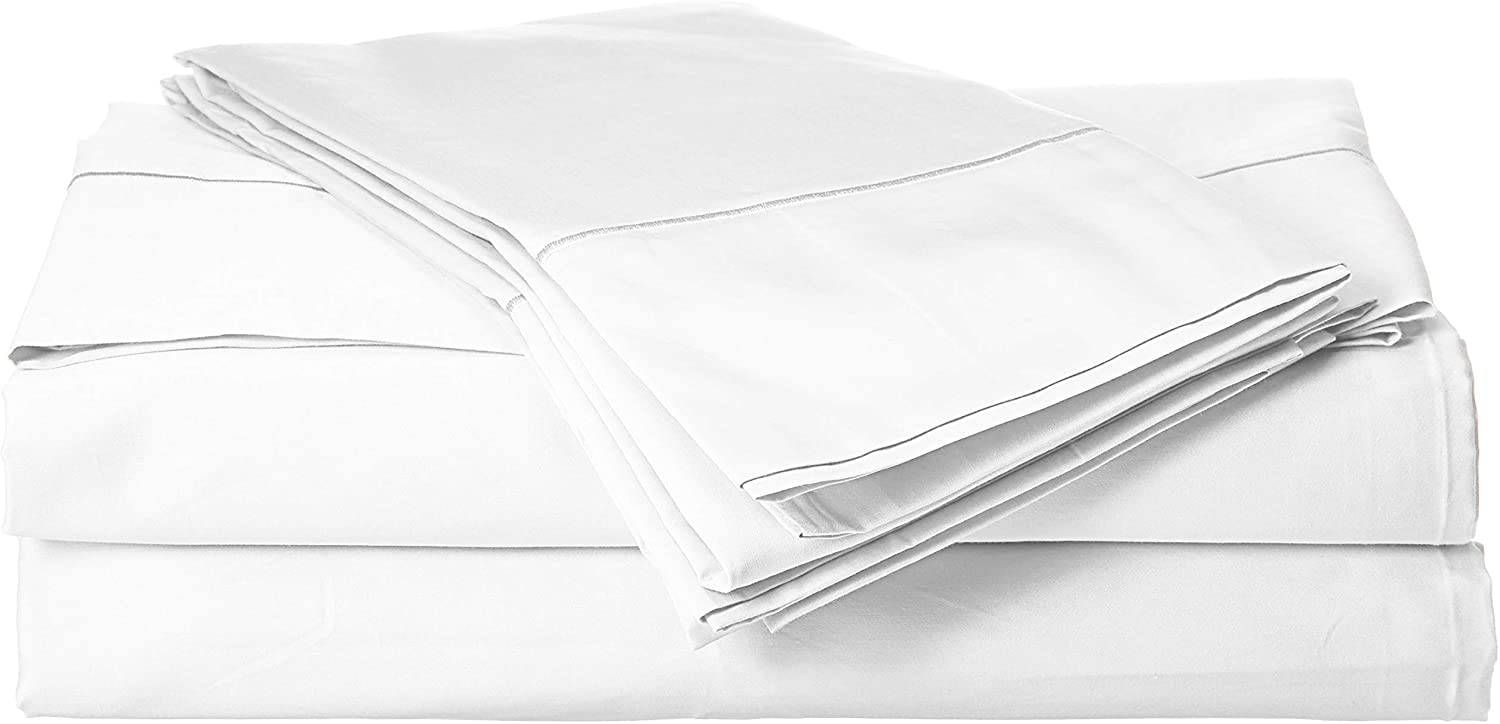 Charisma 310 Thread Count Classic Solid Cotton Sateen Full Sheet Set Bright White