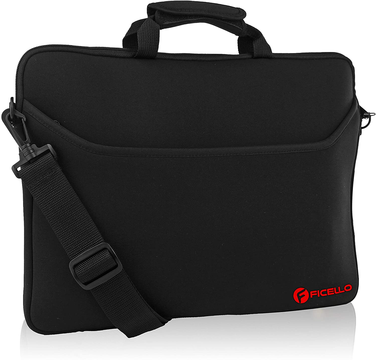 FICELLO 15.6 Inch Laptop Case, Laptop Carrying Bag with Shoulder Strap, Water-Resistant Neoprene Sleeve, Used for Acer/Asus/Dell/Lenovo/HP - Men, Women & Kids, Business Casual or School (Black)