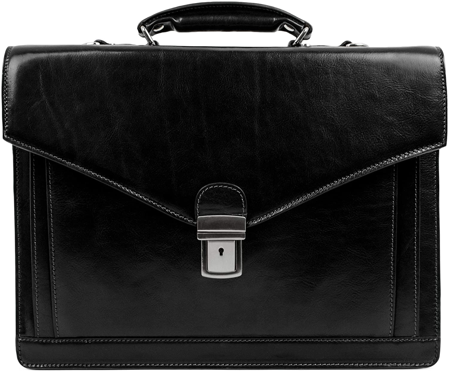 Leather Briefcase for Men Handmade Italian Business Bag Classy Black Attache Case - Time Resistance