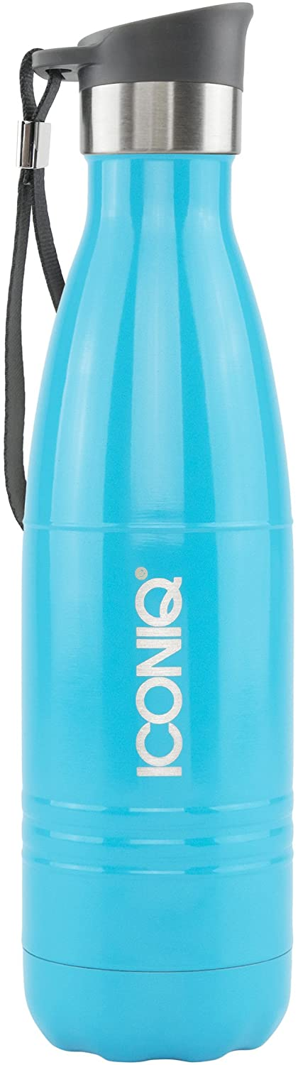 ICONIQ Stainless Steel Vacuum Insulated Water Bottle Includes Bonus Push Button Sip Cap, 17 Ounce