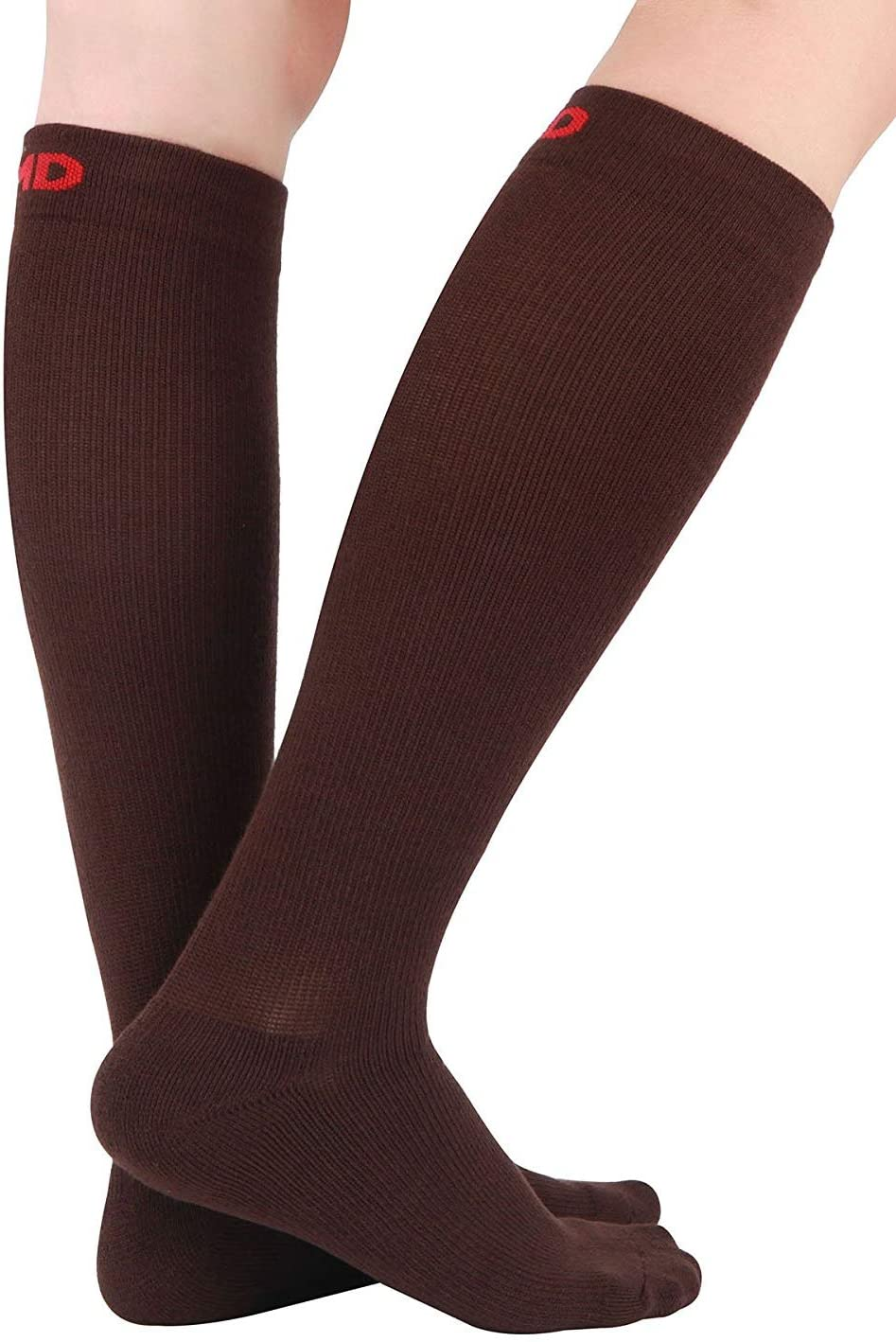 +MD 3 Pairs Bamboo Compression Socks 8-15mmHg for Women & Men Moisture Wicking Support Stockings for Airplane Flights, Travel, Nurses, Edema 13-15 Brown
