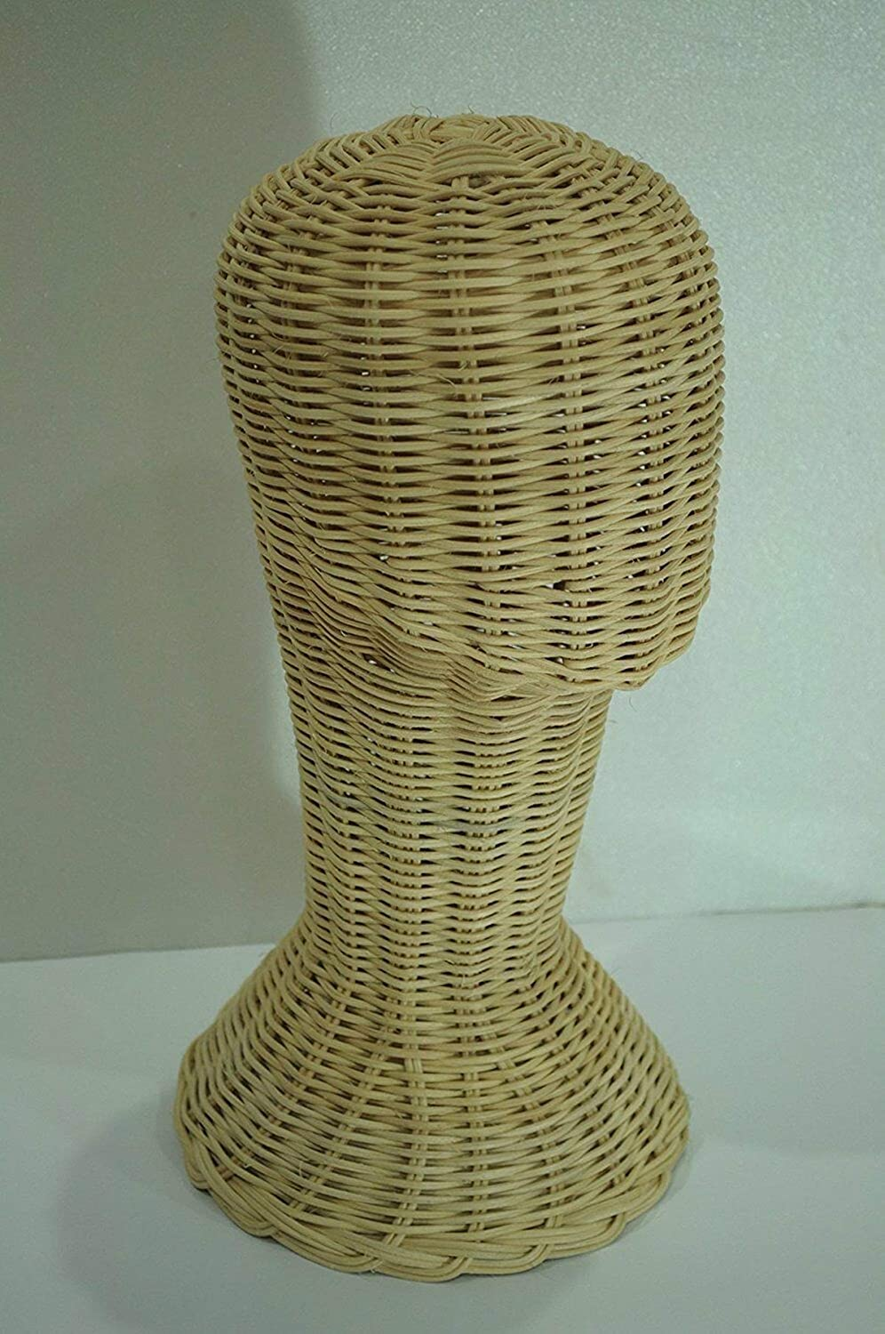 Vintage Handmade Wicker Display Head Store Wig Holder Hat Stand Head Nature Rattan Mannequin