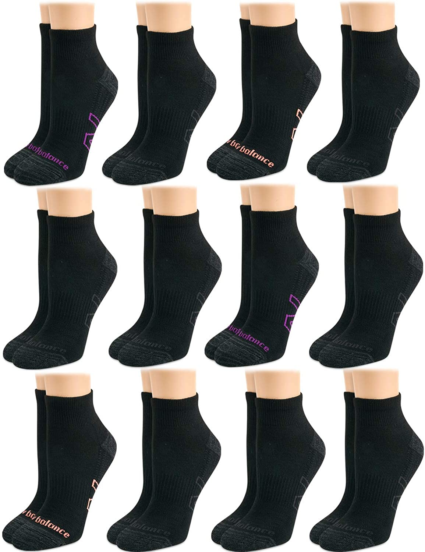 New Balance Women's Athletic Arch Compression Cushion Comfort Quarter Cut Socks (12 Pack)