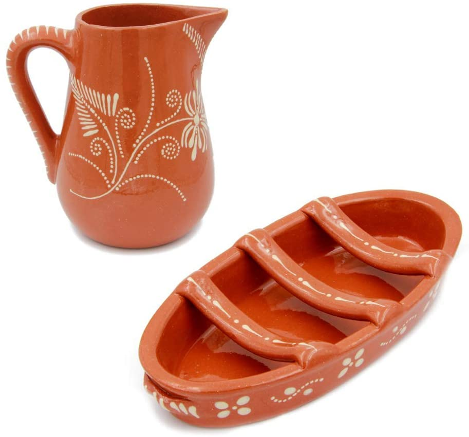 Hand-painted Terracotta Sausage Roaster and Wine Sangria Pitcher Set (Food Safe)