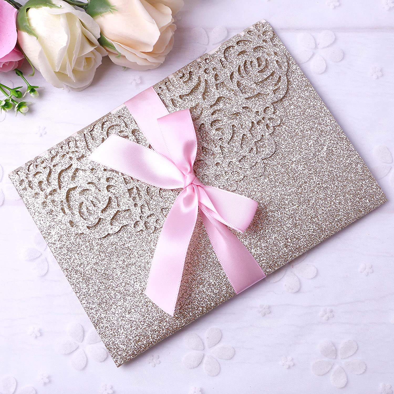 PONATIA 20 PCS 3 Folds 5x7'' Wedding Invitations Cards with Envelopes Ribbons for Wedding Bridal Shower Engagement Birthday Graduation Invite (Gold Glitter)