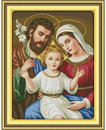 Joyautum DIY Printed on Cloth 14CT Counted Cross Stitch Kits Set Chinese Embroidery Needlework Religious Jesus Family (14ct Blank Fabric)
