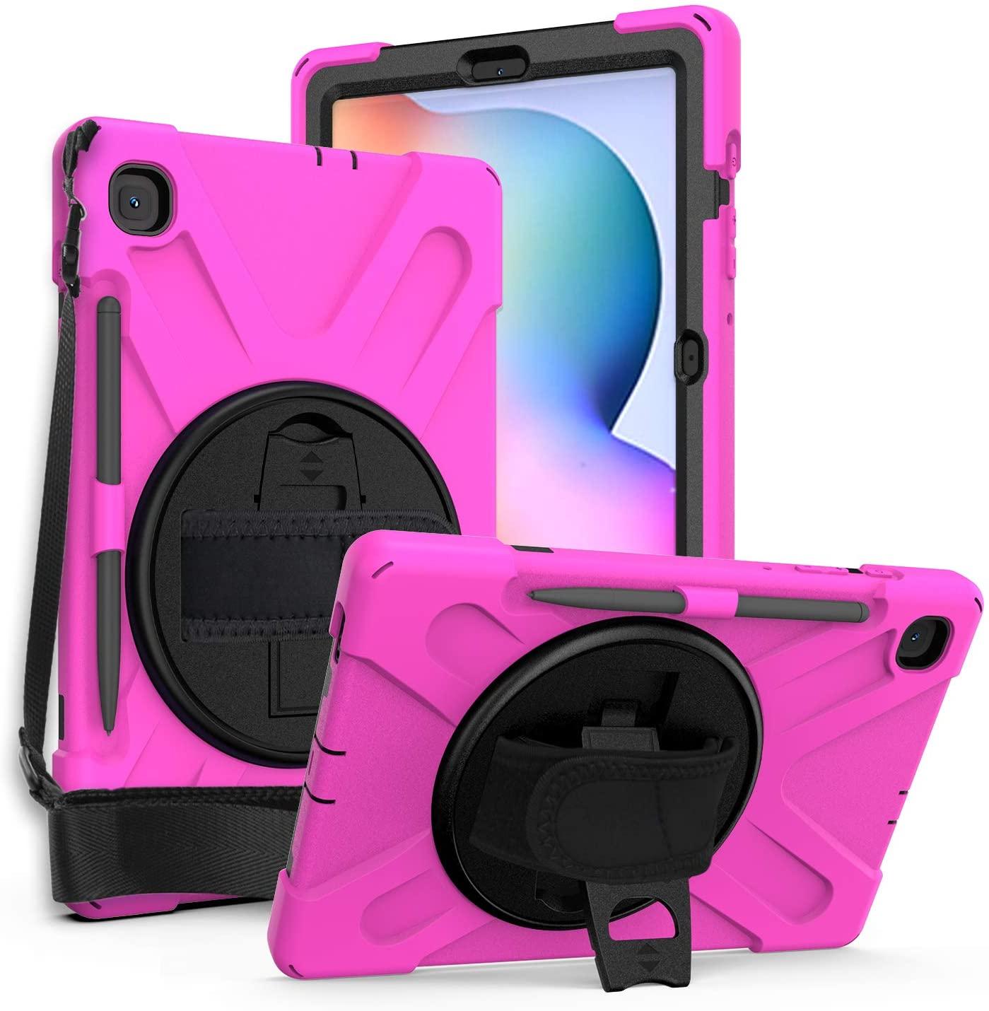 Galaxy Tab S6 Lite 10.4 2020 P610, KIQ Heavy Duty Shockproof Durable Case, Kickstand, Handstrap, Carrying Shoulderstrap Sling for Samsung Galaxy Tab S6 Lite 10.4 P610 (Shield Hot Pink)