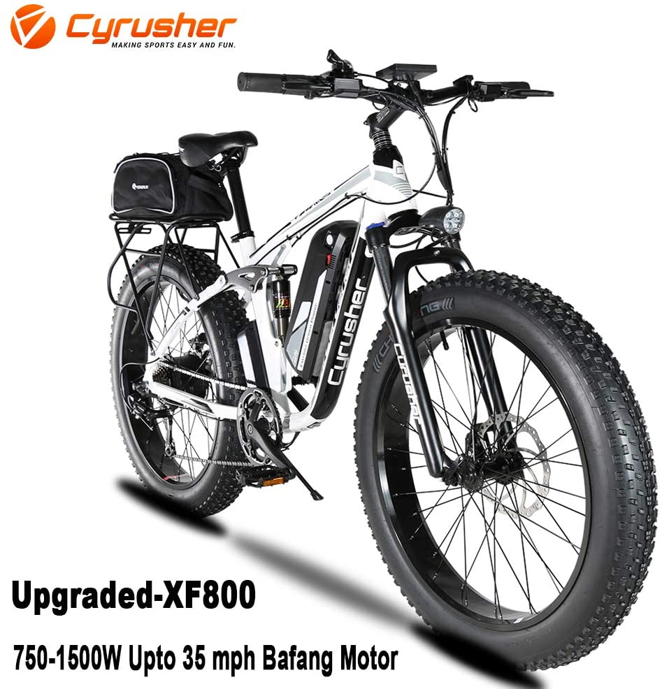 Cyrusher XF800 750W Electric Bike 264 Fat Tire Mountain Ebikes 7 Speeds Snow Beach Electric Bicycles with 13ah Battery and Bag Rack for Men