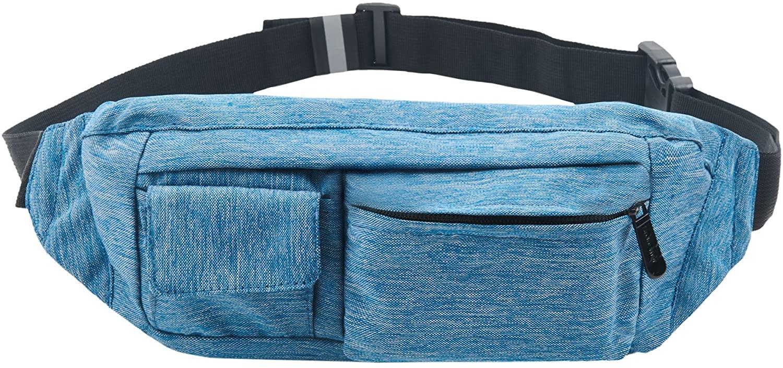 SoJourner 2-Pocket Blue Fanny Pack Hip Bag - fits men, women, kids, small, medium and large