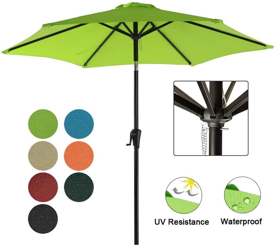 COBANA Patio Umbrella, 7.5' Outdoor Table Market Umbrella with Push Button Tilt/Crank, 6 Ribs, Lime Green
