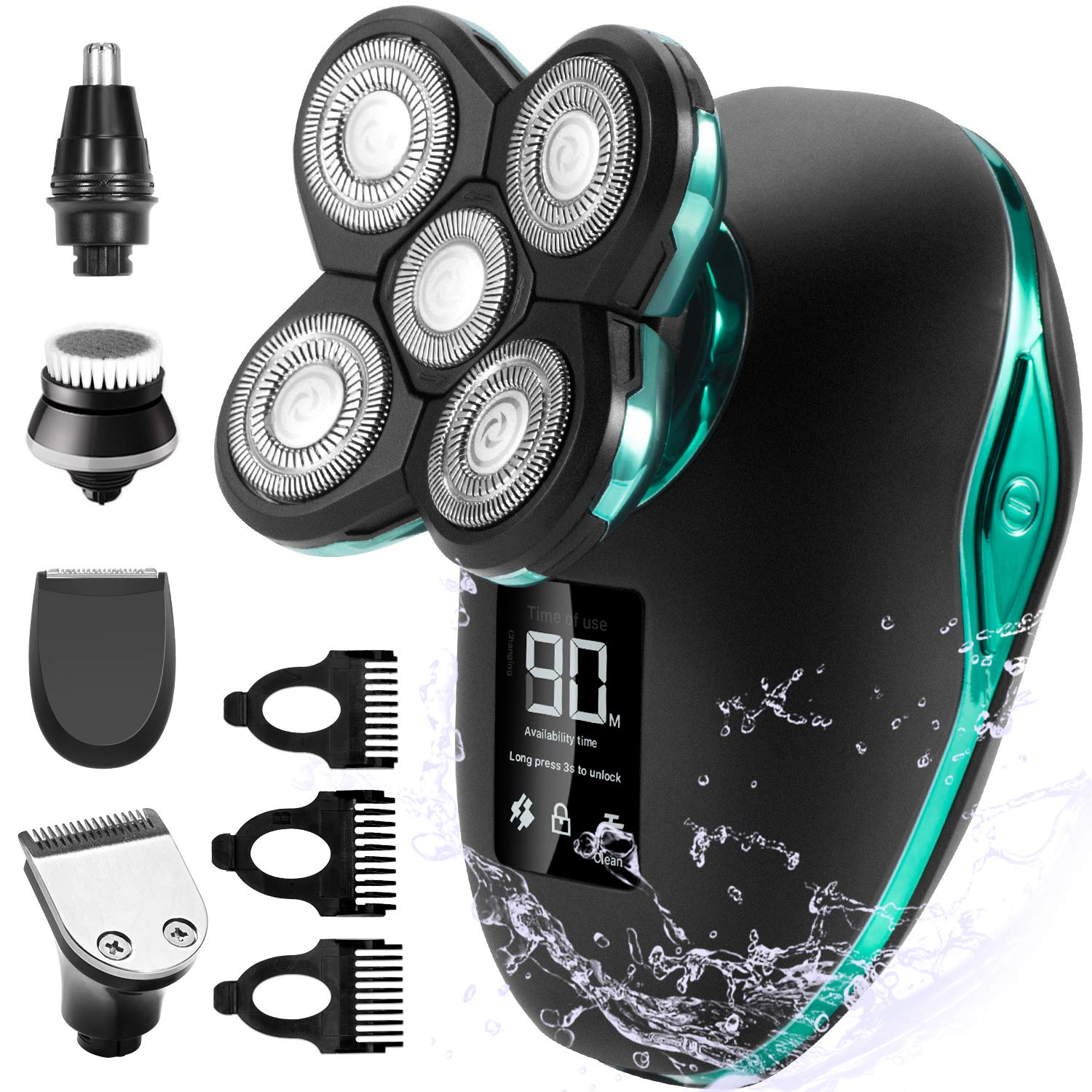 Electric Shaver for Men & Grooming Kit, OriHea 5 in 1 Electric Razor Cordless Waterproof Wet Dry Rotary Bald Head Shaver Nose Trimmer Hair Clippers Facial Cleansing Brush LED Display USB