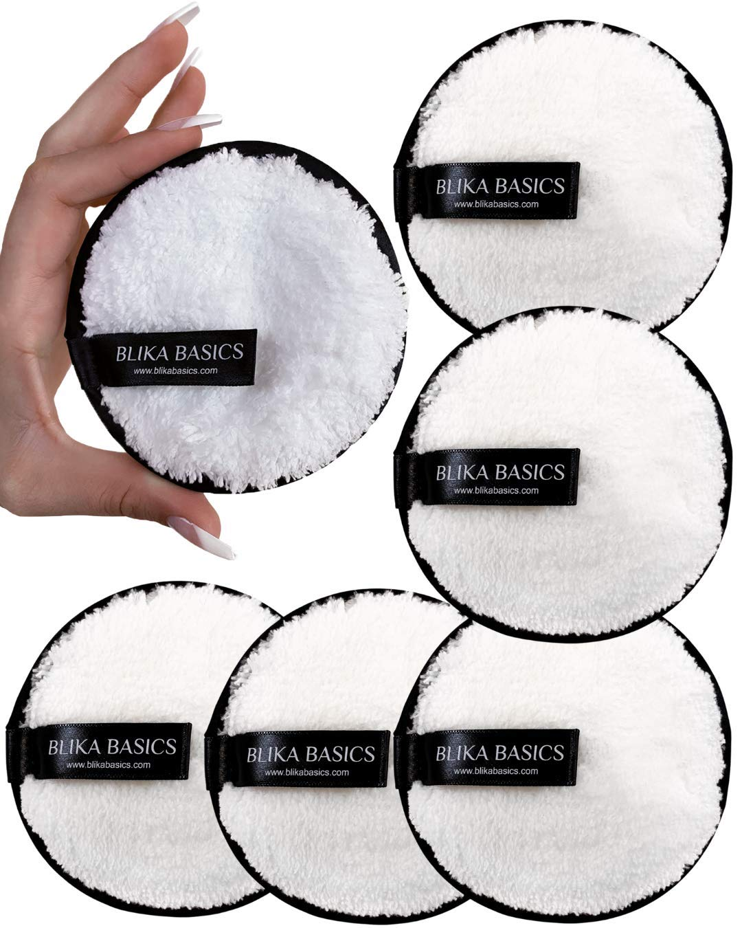 Reusable Makeup Remover Pads - 5 pack White Microfiber Face Rounds to Remove Mascara Foundation Lipstick and Eye Shadow - Washable Round Beauty Cloths - SAVE MONEY with these reusable Eco-friendly wipes