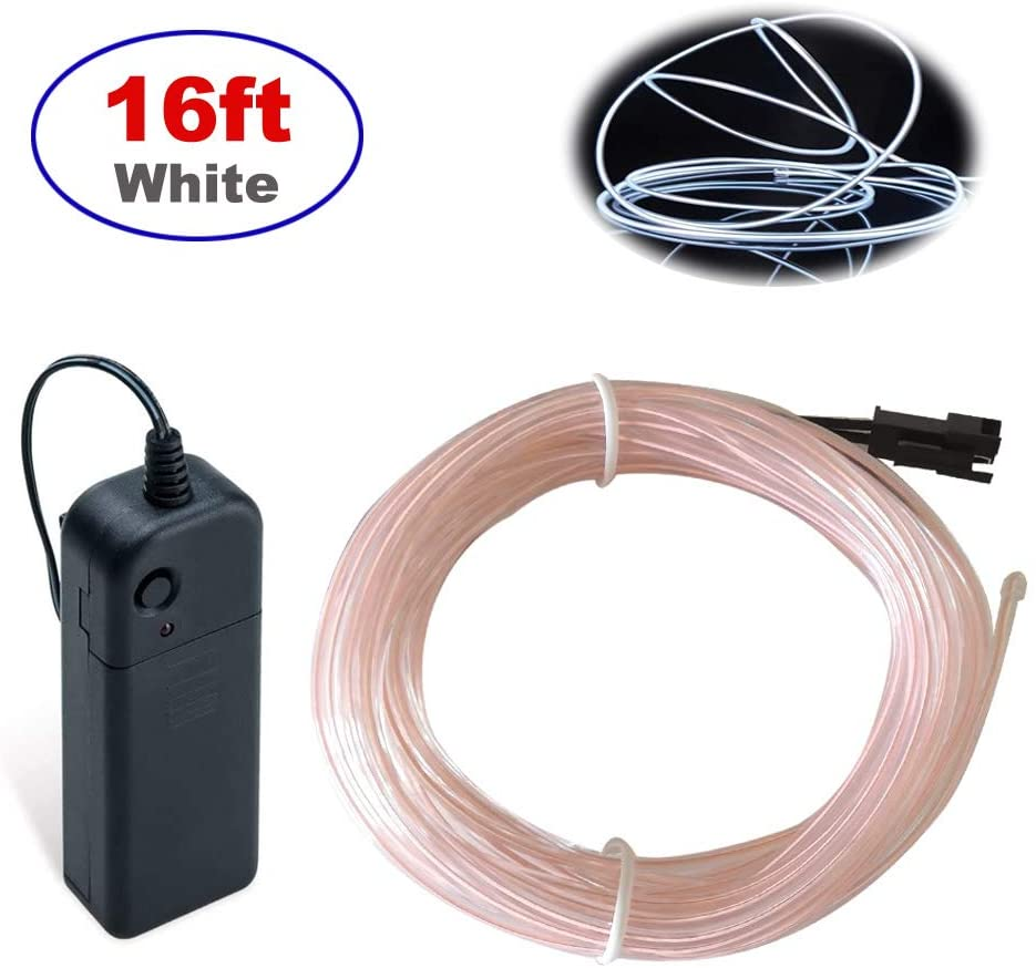 MaxLax EL Wire,16ft Neon Lights Portable Neon Glowing Strobing Electroluminescent Wire for Parties,Parties, Halloween, Blacklight Run,DIY Decoration (White)