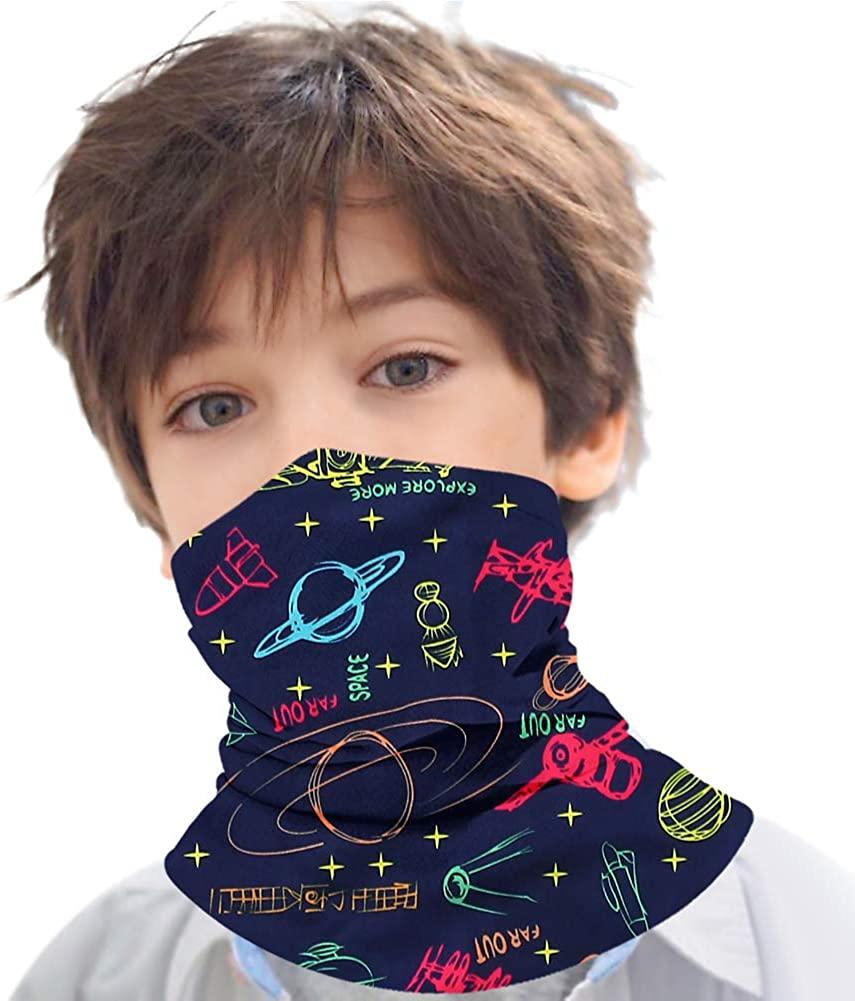 Kids Face Mask Bandanas Full-Coverage Tube Neck Gaiter Headband