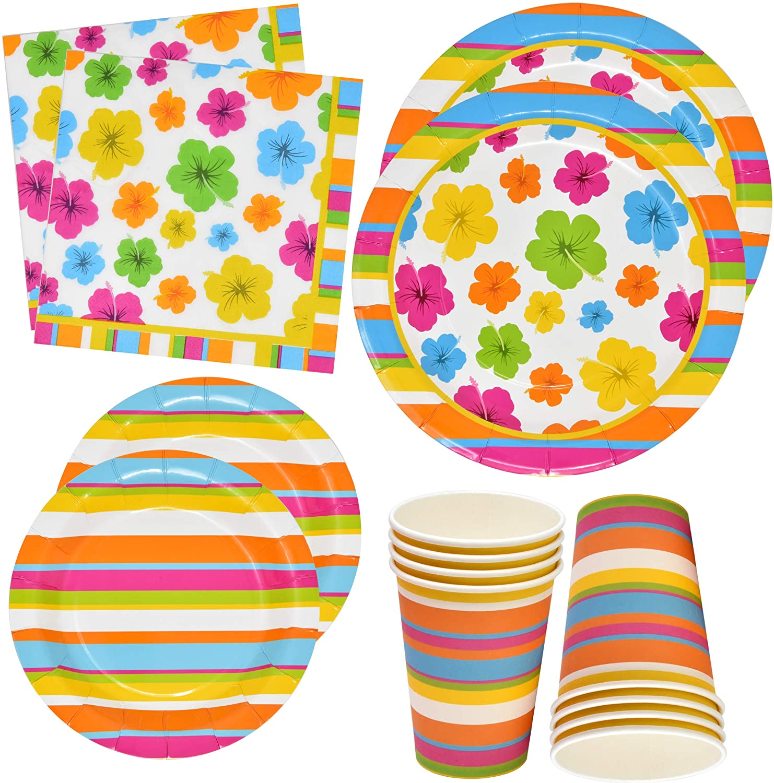 Hawaiian Luau Party Plates and Napkins Includes 24 9