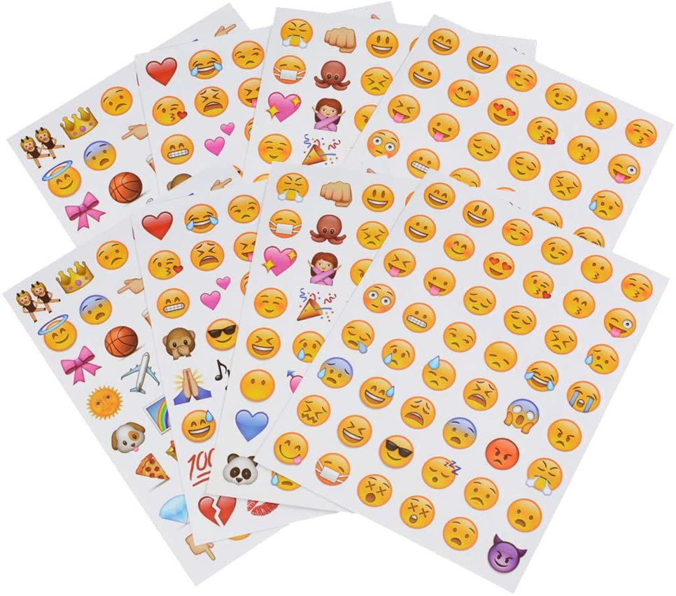 Emoji Face Stickers 8 Sheet Lovely Funny Vinyl Emoticon Kids Sticker Decoration Party Supplies Favors for Pictures Scrapbook Paper from Facebook iPhone
