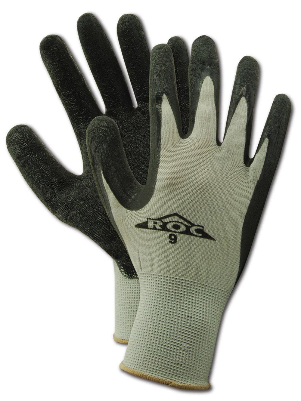 MAGID ROC GP190 Nylon Glove, Black Latex Palm Coating, Knit Wrist Cuff, 10.5