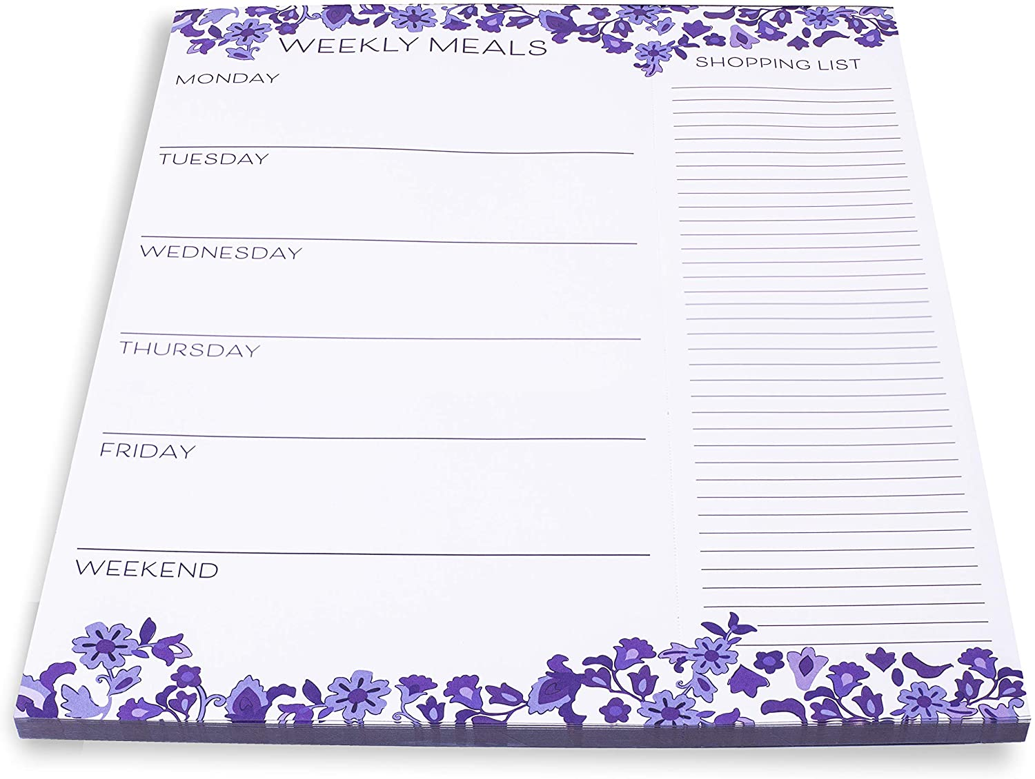 Vera Bradley Purple Floral Undated Weekly Meal Planner and Shopping List Pad with Magnetic Back, 10