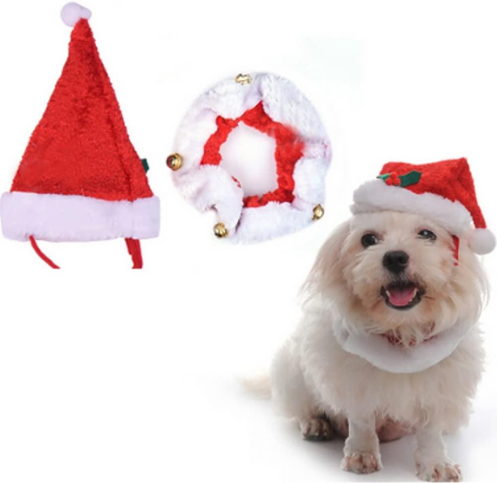 MaruPet Christmas Jingle Bells Decorative Fancy Collar Dog Costume by Midlee Comfort Santa Dog Cat Costume Hat Red
