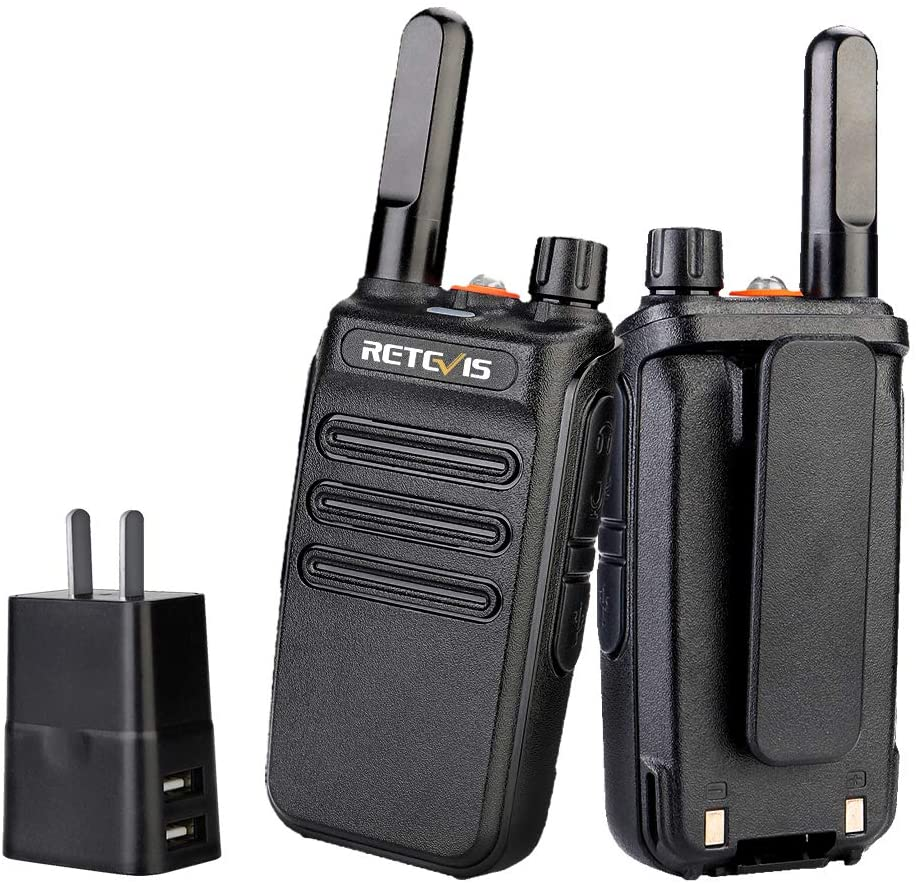 Retevis RB35 Walkie Talkie Rechargeable,Long Range 2 Way Radio,Two Way Radio with Charger,Big Flashlight VOX Handsfree Mini,Outdoor Camping Hiking Biking Traveling(2 Pack)