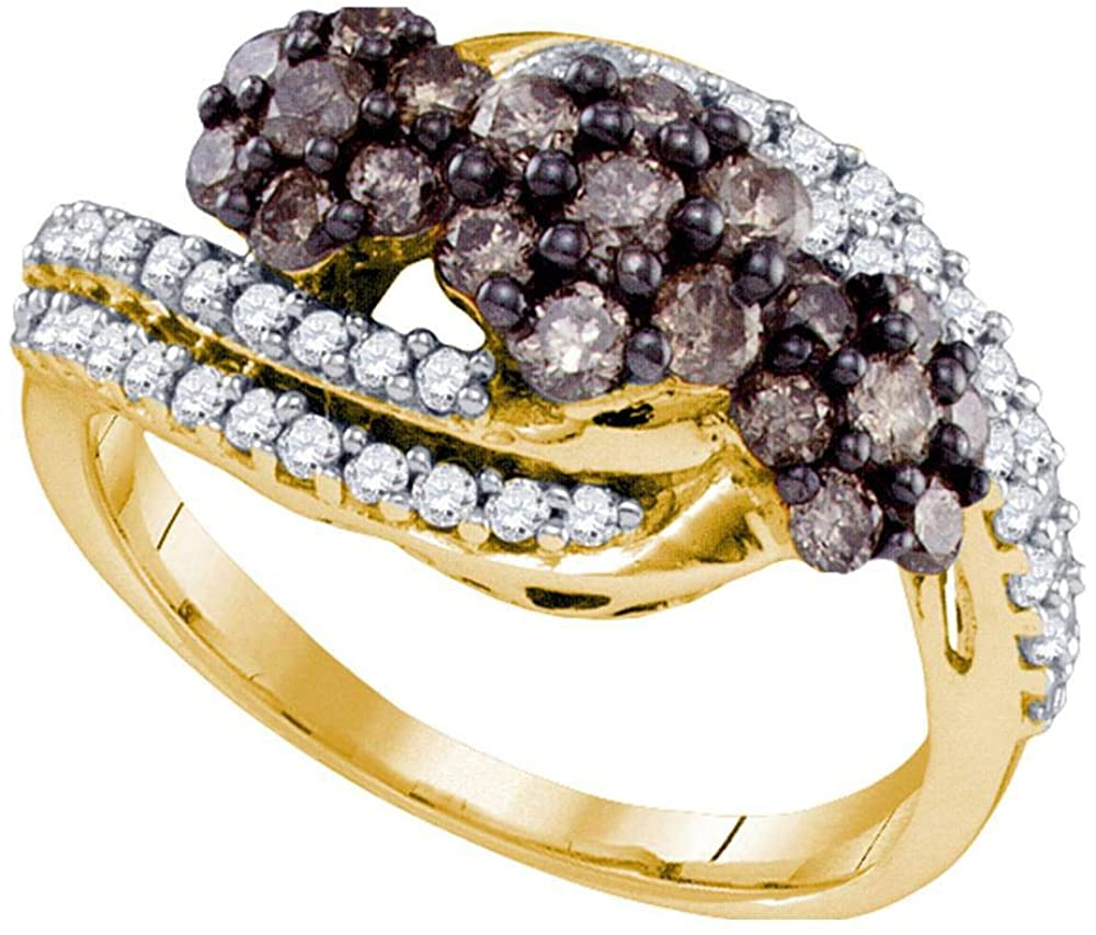 Dazzlingrock Collection 10kt Yellow Gold Womens Round Brown Diamond Cluster Ring 7/8 ctw