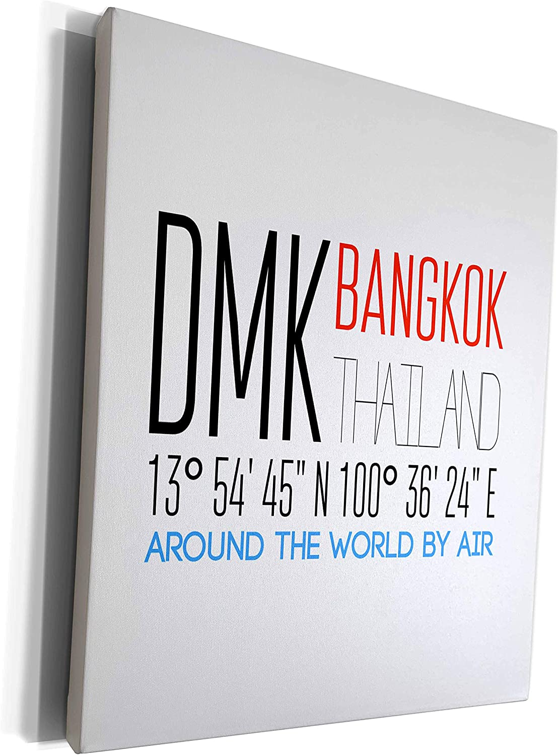 3dRose Alexis Design - Around The World By Air - Text DMK BANGKOK, THAILAND, location. Around the world by air - Museum Grade Canvas Wrap (cw_319830_1)