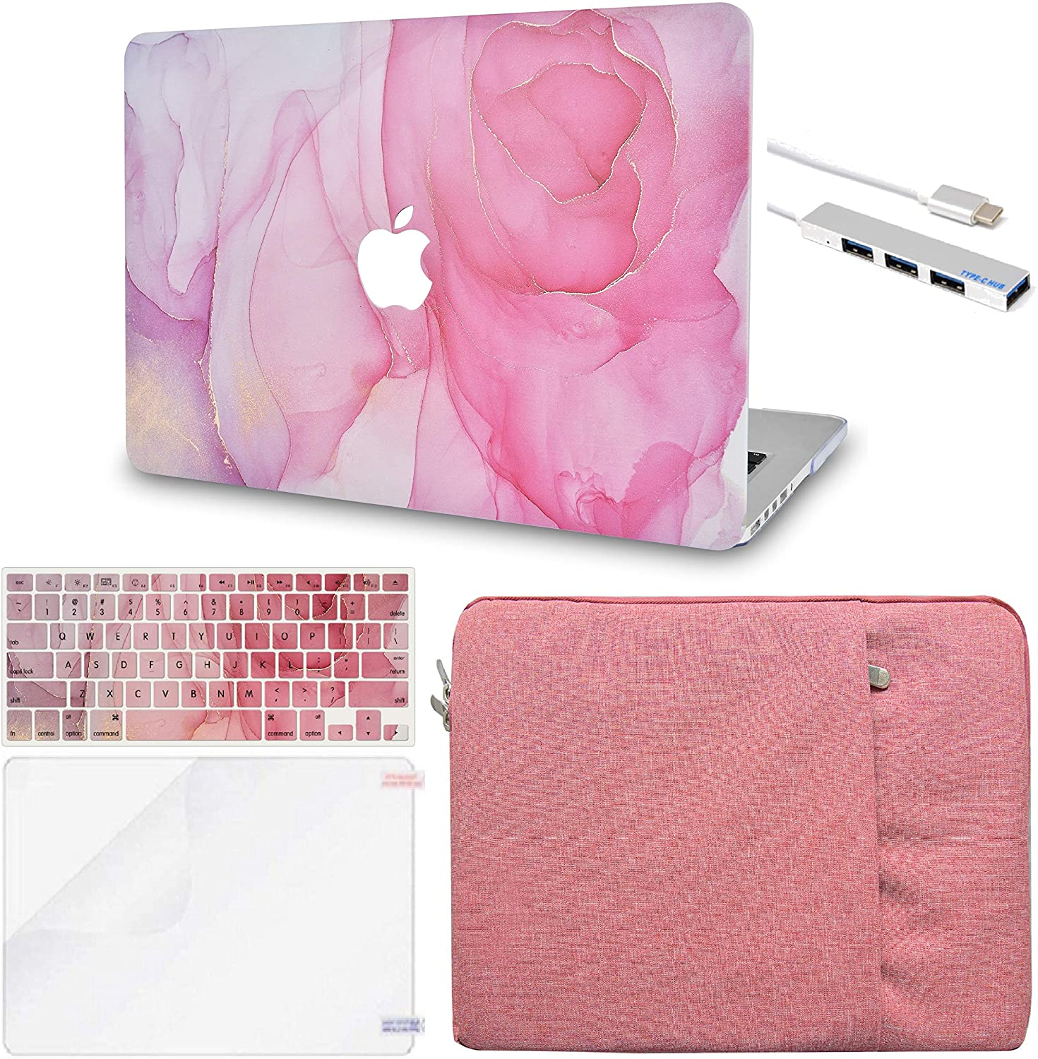 LuvCase 5in1 LaptopCase for MacBook Air 13 InchA1466 / A1369 (No Touch ID)(2010-2017) HardShellCover, Sleeve, USB Hub 3.0, Keyboard Cover&Screen Protector (Rose Marble)