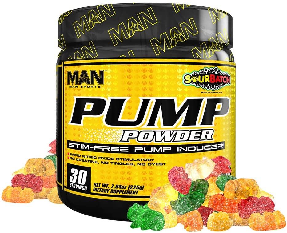Man Sports Pump Powder. Stimulant Free Sour Batch Flavored Workout Enhancer Drink Mix (30 Servings)