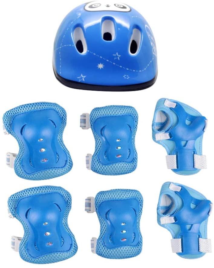 TOYANDONA 7pcs Kids Helmet Pad Set Elbow Knee Wrist Pads Adjustable Safety Sports Protective Gear Set for Kids Children Roller Skating Scooter Skateboard